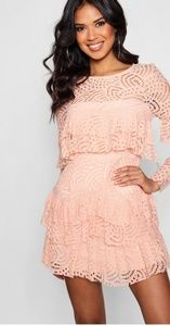 Blush Pink Ruffle Lace Skater Dress